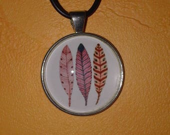 Cabochon feather pendant