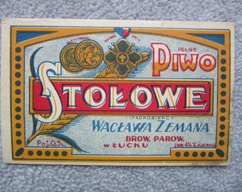 antique  Imperial Russia - Poland - Ukraine  BEER label  STOLOWE