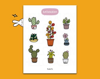 cactus and plants. decorative stickers. planner stickers. bullet journal stickers, erin condren (t004)