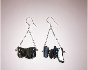 Blue Hematite .925 Sterling Silver Dangle Earrings
