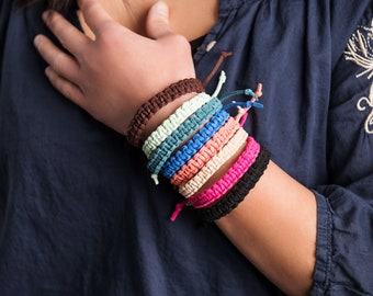 Simple Macrame Knot Leather Boho Chic Jewelry Bracelet Available in Different Colors