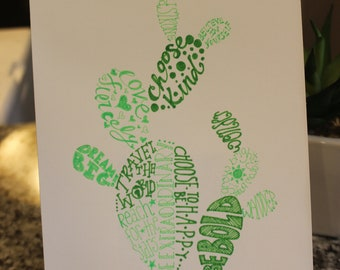 Hand drawn inspirational word art prickly pear cactus