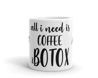 Coffee & Botox Emoji Mug - injectables, facial filler, filler, botox