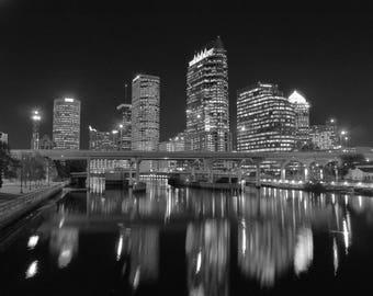 Black & White Downtown Tampa nighttime Skyline photo