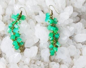 Earrings with Green Cat Eyes