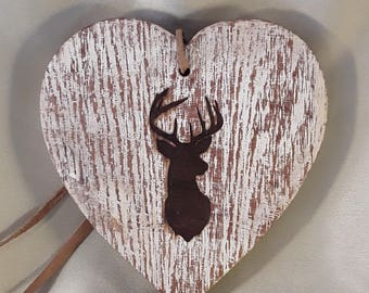 Stag engraved wooden heart