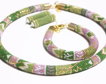 Green Set of Jewelry Beaded Set Green and Pink Necklace Beaded bracelet Earrings Set Jewelry