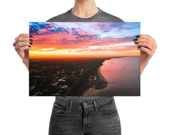 Sunset | Print | Wall Art | Drone Photography | Beach landscape | Premium Luster Photo Paper | Poster| 'Busselton Sunset'