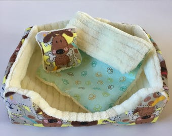 "18"" Doll Pet Bed / 3 pc Pet Bed Set/Doll Pet Bed/Dog Friends"