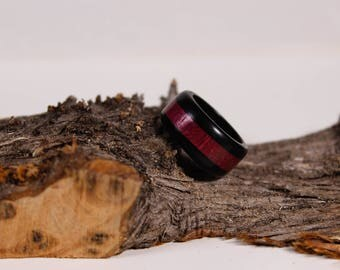 Ring trio of Amaranth wood and ebony wood