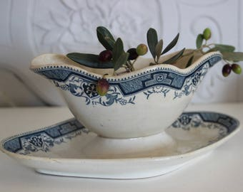 Antique french ceramic sauceboat,earthenware sauceboat,Saint Amand et Hamage sauceboat .