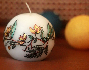 Bougie artisanale Hand painted Candle spherical artistic unique floral