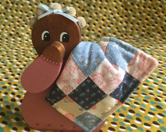 Vintage Wooden flat Doll_handmade_baby doll_quilt