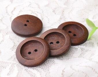 8pcs 25mm 2 holes wooden buttons dark brown wood buttons natural wooden buttons sewing buttons coat buttons