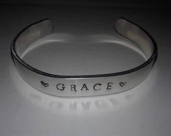 Grace handstamped cuff