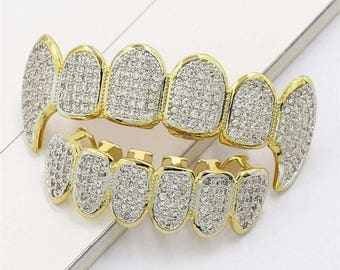 New Custom 14k Gold Plated Hip Hop Teeth Grillz Caps Top & Bottom Grill Two Tone Cz Fang Set
