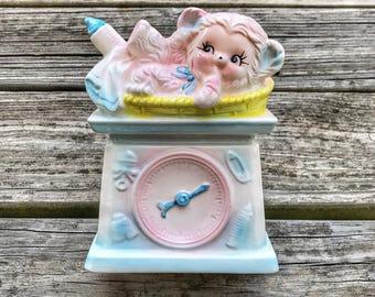 Vintage Kitschy Faux Clock Lamb Planter