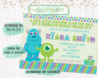 Monsters Inc Baby Shower Invitation / Digital File / Printable