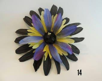 Striking Black, Purple and Yellow Flower Hair Clip