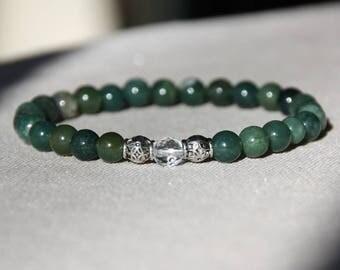 Natural 6 mm beaded Bracelet: Moss Agate, 1 Crystal