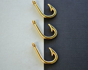 Large Gold Plated Fishing Hooks - Fishing Lure Charm - Barbed Fish Hook - Jewellery Making Charms