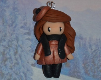 Baby dress polymer clay rose gold, brown hair - winter Collection - handmade jewelry