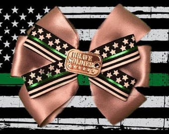 Military Support Hair Bow Accessory