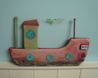 Hand made driftwood fishing trawler