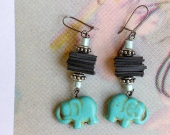 Elephant (handmade earrings from recycled bicycle inner tube and beads)