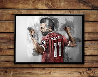 Mohamed Salah print Liverpool wall art home decor poster