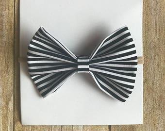 Black/White Stripes Classic Bow