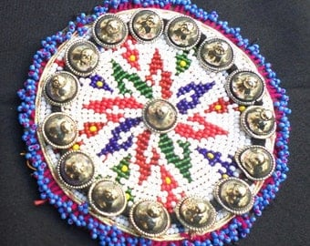 Afghan kuchi tribal medallion with Vintage Metal Button-680