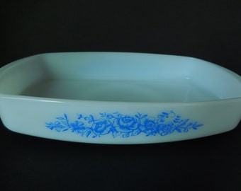 Vintage Federal Glass Casserole Dish/Blue Roses/Oven Proof