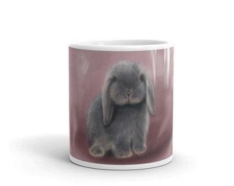 Cute Fluffy Bunny Coffee Mug, Pet, Animal, Soft, Adorable, Grey, Hop, Rabbit, Birthday Gift