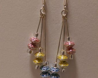 Tri-Colour Dangles with Indian motif