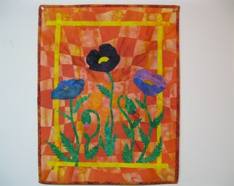 "Art Quilt - ""Blue Poppies"""
