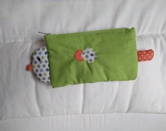 School Kit fabric bird, back to school, green Kit fabric
