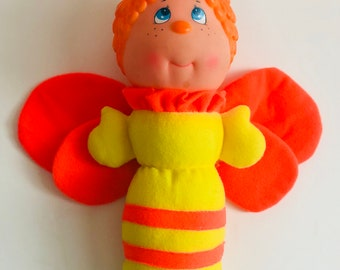 Vintage 1991 Soma glow worm butterfly/bee plush glow toy yellow and orange