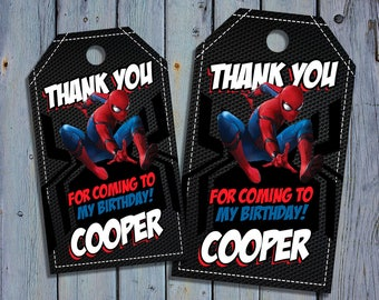 Spiderman Birthday Thank You Tags, Superhero Favor Tag, Amazing Spider Man Printable Digital Labels, Marvel Goody Bag Tags, Hang Label Tags