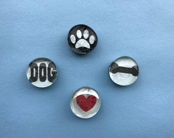 I Love My Dog - Glass Gem Magnets