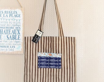 Tote bag striped and blue gingham Made in France