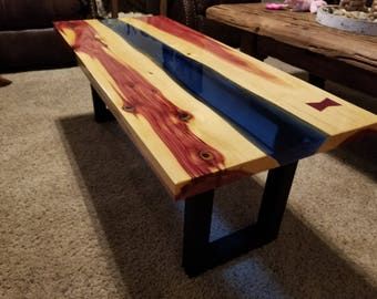 Epoxy river coffee table