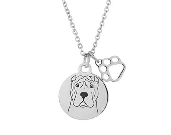 Shar Pei Charm Necklace, Stainless Steel Shar Pei Necklace, Shar Pei Jewelry, Shar Pei Gift