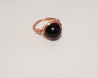 Black Bead Gem ring