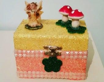 Fairy and toadstool glittered trinket box