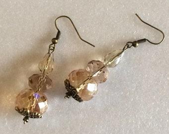 Crystal bead dangle earrings