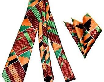 Hand made African Print Kente Tie with Handkerchief