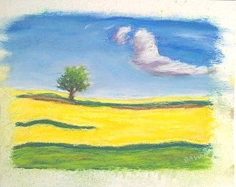 Yellow Field - Soft Pastel Painting