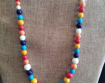 "19 1/2"" Multicolor Beaded Necklace"