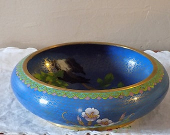 """Vintage  10"""" Cloisonne Bowl Bronze decorated with Blossoms and Butterfly  Blue"""